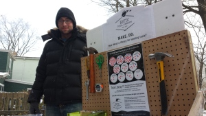 Neil Bailey is helping launch a tool library in Halifax. Organizers have been surveying people to find out what they want. (Zaa Nkweta/CBC)